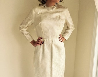 ON SALE vintage 1950s dress/ ivory satin/  satin brocade/ cocktail dress/ wedding/ size medium JANELLE