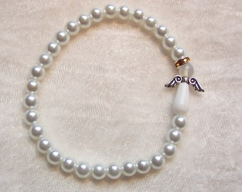 White Angel Bracelet, Lung Cancer Awareness, Crystal Angel, White Glass Pearls, Golden Halo, White Pearls of Hope, Elastic Cording