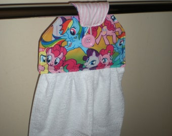 SALE 15% OFF original price Bathroom/kitchen hanging hand towel NEW little pony print. cotton/polyster Great for kitchen or bathroom