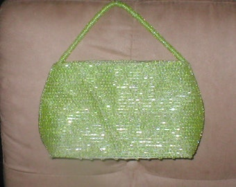 Vintage Lime Green Beaded Evening Bag Purse
