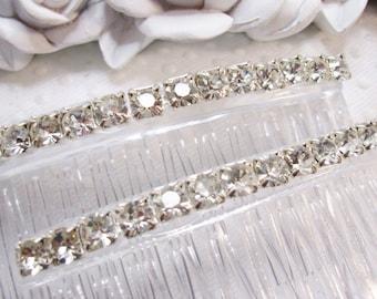 Rhodium plated 4mm Swarovski Crystal elements Handmade Hair comb Fascinator pair hand made