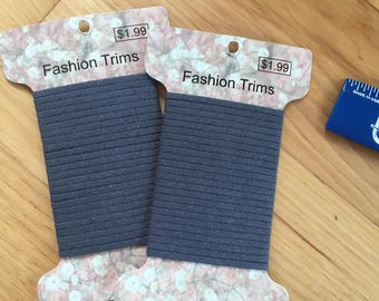 2 packages medium Gray SUEDE trim. 6 yards. Narrow 1/8 inch wide Fashion cording, crafting, sewing, ultra