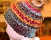Bun hat, messy bun beanie, Handmade cap, women's pony tail hat, ponytail hat, joggers hat, crochet hat, women's hat, winter hat, fashion hat