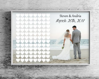 Wedding Guest Book Ideas, Guest Book Hearts, Wedding Guest Book Sign, Alternative Canvas, Sign-In Book