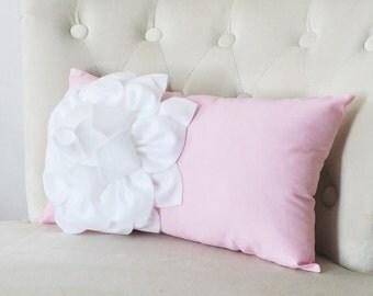 Baby Pink Pillow Cover - 9 x 16  inch Pink Pillow 16 x 9 Inch - Decorative Throw Pillow - Pink Lumbar Pillow - Pink Nursery Pillow -Flower