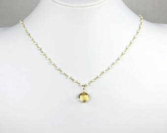 Citrine Pearl Necklace Gold Rosary Wire Wrapped Seed Pearls Citrine Pendant Birthstone Bridal Jewelry