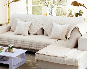 Beige White Flannel Sofa Cover Warm Couch Slipcover Loveseat Cover Winter Home Decor