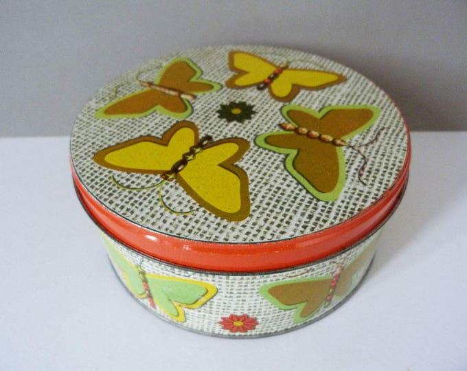 Vintage Butterfly cake tin storage tin