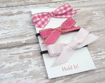 Pink Ponytail Bow Elastic, Girls Ponytail Elastic, Bow Ponytail Holder, Womens Pontail Holder,  Hair Tie, Set of 3