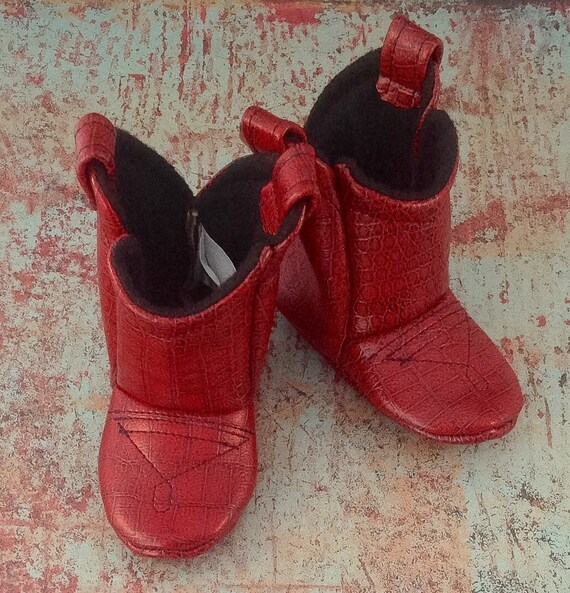 Red Leather Baby Cowboy Boots   Alligator texture   Preemie   Newborn   3-6 Month   6-9 Month   9-12 Month   12-18 Month   18-24 Month