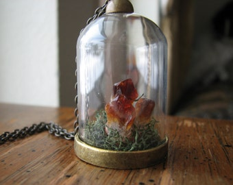 Citrine crystal necklace | moss terrarium | pendant | raw | nature inspired | for her | miniature