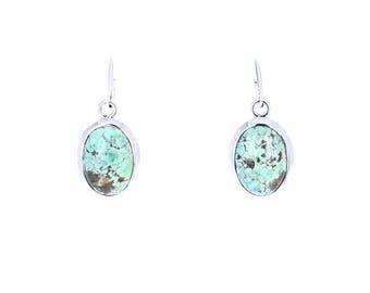 CARICO LAKE TURQUOISE Earrings Sterling Silver Mint Green Ovals NewWorldGems