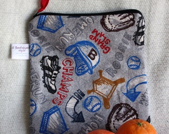 """Reusable Sandwich / Snack Bag - 7.5"""" x 7.5""""- Certified Food Safe PUL lined, Zippered, Machine Washable, Sports motif"""