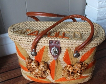 ON SALE 50s Acapulco Straw Handbag / Straw Purse Mexico Sturdy Iconic Orange and Mustard Woven Bag / Woven Purse