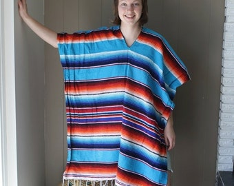 50% OFF Mexican striped cotton poncho Hippie poncho hippie wrap bohemian poncho ethnic poncho Cotton Blanket / Striped