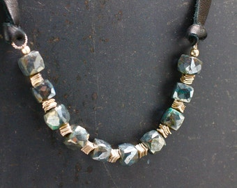 Labradorite Necklace Gray Necklace Gemstone Necklace Gemstone Jewelry Holiday Gift For Her Leather Choker Adjustable Necklace Gift Under 75