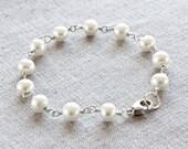 Real Pearl Bracelet, Wire Wrapped Bracelet, Handmade Beaded Bracelet, White Pearl Bracelet, Fine Jewelry, Sterling Silver Bracelet for Women