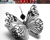 Statement Earrings - Black and White Earrings - Butterfly Zebra Earrings - Black and White Jewelry - Dangle Earrings - Silver Gold Ear Wire