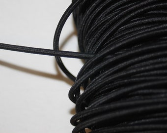"3 yards Black Shock CORD stretch round elastic bungee 1/8"" diameter"