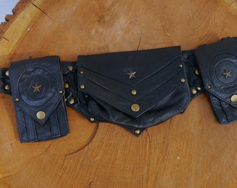 WINTER SALE! Tactical Star  Dieslepunk Steampunk Bomber Leather Utility Belt Bag