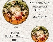 "Russian Zhostovo Floral Pocket Mirror 3.5"" or 2.25"" Choose your Favorite from the 4 Different Prints, Buy 3 Mirrors Get 1 Mirror Free  618"
