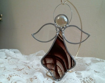 Stained Glass burgundy baroque ANGEL suncatcher or ornament