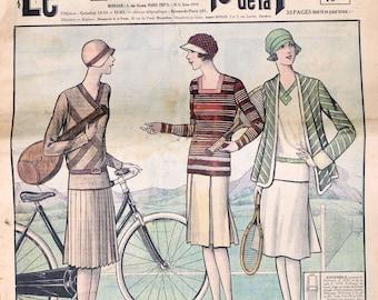 Le Petit Echo de la Mode April 1929 vintage fashion magazine 1920 Art Deco dresses lingerie bags hats sportswear knitting pattern 16 pages