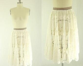 1960's Crochet Lace Circle Skirt M L
