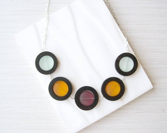 Geometric Wood Necklace, 5th Anniversary Gift, Yellow, Recycled Glass Jewelry, Unusual Multicolor, Ebony, Purple, Nickel Free Sterling, Mint