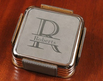 Leather Coaster Set With Silver Edge