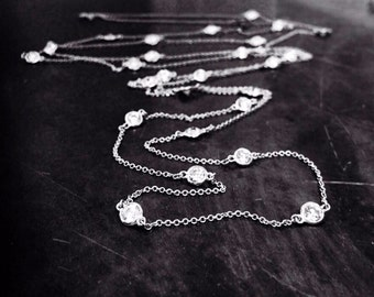 """50"""" long Rhinestone Necklace in Sterling silver"""