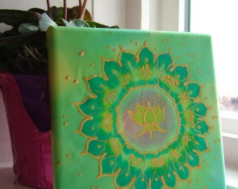 Lotus Zodiac Astrological Silk Mandala Handpainted Picture
