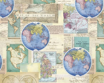 Globes world map fabric novelty fabric world map globe map of the world from david textiles 1 yard world maps cotton quilting fabric gumiabroncs Gallery