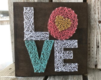 Valentine Love string art wood sign hand made heart gift gold personalized seasonal home decor Valentine's Day