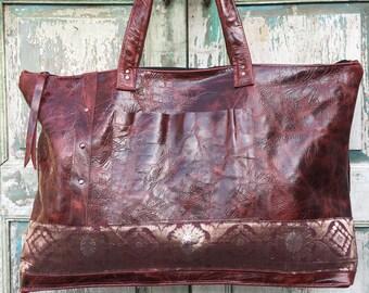 Leather Weekender Bag, Red Leather Bag, Diaper Bag, Work Bag,  with vintage Textile and Sari highlights