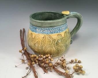 Pottery mug/mug/handmade mug/coffee mug/botanical pottery/large coffee mug/unique mug
