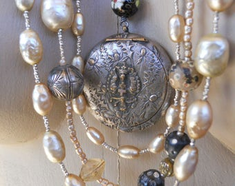 Thistle         Antique Locket Pearl Opal Trade Bead Assemblage Necklace