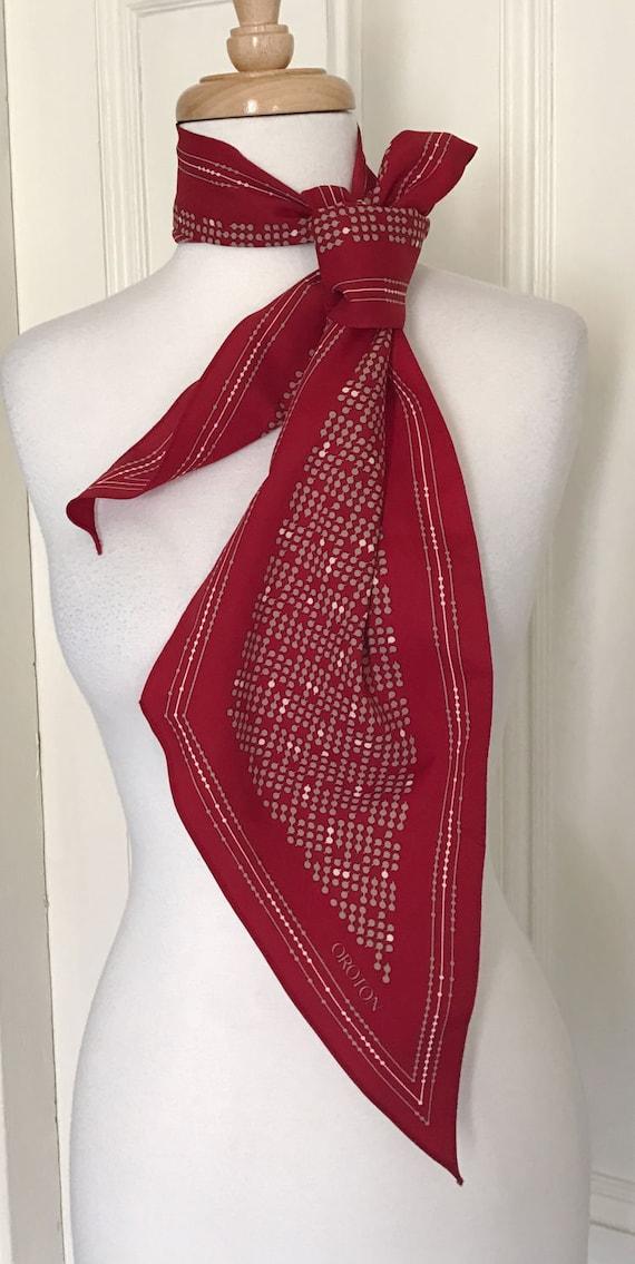 oroton vintage maroon white scarf