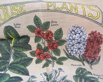 Irish Linen House Plants Vintage Kitchen Towel Kitchen Decor