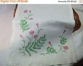SALE 50% OFF Vintage Green and Pink Floral Embroidered Table Runner or Dresser Scarf