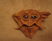 Grichels leather pin/tie tack/brooch - caramel brown with brown bird eyes