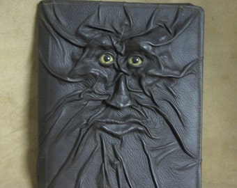 """Grichels leather large padfolio - """"Jarbly"""" 28073 - dark brown with green star eyes"""