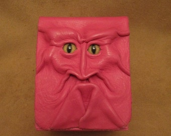 Grichels leather card game single deck box - hot pink with brown and green slit pupil bobcat eyes - Magic the Gathering, Yu-Gi-Oh, Pokemon