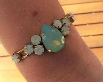 Turquoise and Gold Swarovski Crystals Bracelet