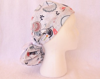 Scrub Ponytail Hat - White Flowers - Operating Hat, Tech, Nurse Scrub Cap
