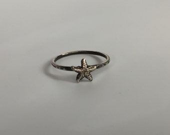 Starfish Stacking Ring. Sterling silver stacker jewelry mix and match. Sea star ocean jewelry.