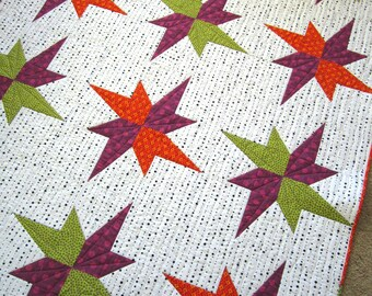 Homemade Quilt, Patchwork Quilt, Handmade Quilt, Lap Quilt, Modern Quilt, Star Quilt, Home Decor, Sofa Quilt, Quilted Throw