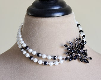 Crystal Brooch Pearl Necklace, Black White, Pearl Necklace, Double Strand Statement Necklace, Removable Brooch, Black Tie Affair