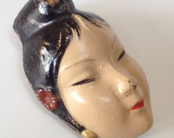 Japanese Geisha Face Pin Figural Brooch – M & N Novelty Co 1920s Jewelry