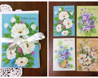 Vintage Birthday Cards and Envelopes Floral Illustrations 1980s Blue Unused Greeting Set of 4